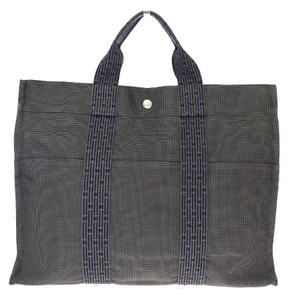 Hermes Her Line MM Canvas Tote Bag Gray
