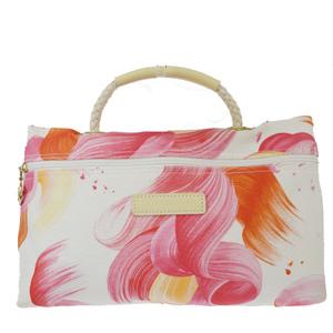 ロンシャン(Longchamp) キャンバス,レザー ハンドバッグ ピンク