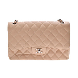 Chanel Matrasse chain shoulder bag double lid beige SV metal fittings ladies caviar skin A rank CHANEL used silver warehouse