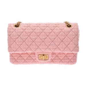 Chanel 2.55 Chain Shoulder Bag Pink GP Hardware Ladies Tweed A Rank CHANEL Used Ginzo