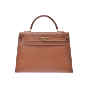 Hermes Kelly 32 outside stitching gold G metal □ A stamped ladies Kushbell 2WAY handbag AB rank HERMES strap used silver warehouse