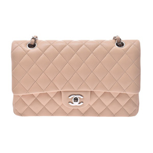Chanel Matrasse chain shoulder bag double lid beige SV metal fittings ladies lambskin new beauty goods CHANEL used silver warehouse