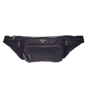 Prada waist pouch black 2VL003 current men's women's nylon body bag A rank beautiful goods PRADA gala used silver warehouse