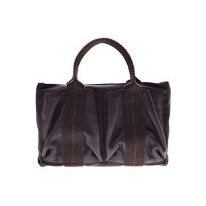 Hermes Caravan Horizontal PM Brown Ladies Men's Voderma / Canvas 2WAY Bag B Rank HERMES Used Ginzo