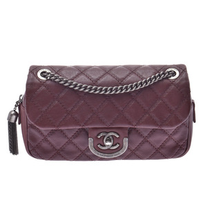 Chanel Matrasse Chain Shoulder Bag Bordeaux Ladies Calf AB Rank CHANEL Gala Used Ginzo