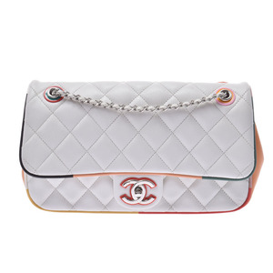 Chanel Matrasse chain shoulder bag white / multi-color SV metal fittings ladies lambskin AB rank CHANEL box Gala used silver warehouse