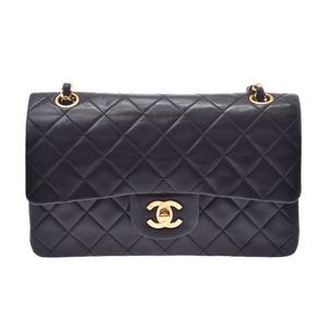 Chanel Matrasse chain shoulder bag double flap black G metal fittings lady's lambskin B rank CHANEL Gala used silver warehouse