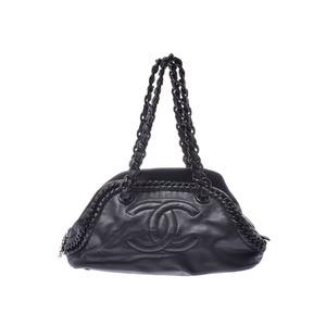 Chanel Luxury Line Plastic Chain Handbag Black SV Hardware Ladies Calf A Rank CHANEL Used Ginzo