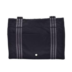Hermes Fool Toe Bazas MM Black Men's Women's Canvas Shoulder Bag AB Rank Used Ginzo