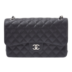 CHANEL MATRASSE chain shoulder bag black SV metal fittings double lid lady's caviar skin new beauty goods Gala used silver warehouse
