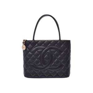 Chanel Reprint Tote Bag Black G Metal Ladies Caviar Skin A Rank CHANEL Gala Used Ginzo
