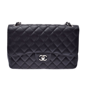 Chanel Matrasse chain shoulder bag double lid black SV metal fittings lady's caviar skin A rank CHANEL box Gala used silver warehouse