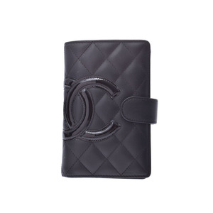 Chanel Cambon Line Compact Wallet Black / Ladies Leather Enamel AB Rank CHANEL Box Gala Used Ginzo