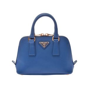 Prada 2WAY Mini Handbag Blue G Hardware BL0851 Ladies Saffiano A Rank PRADA Gala Strap Used Ginzo