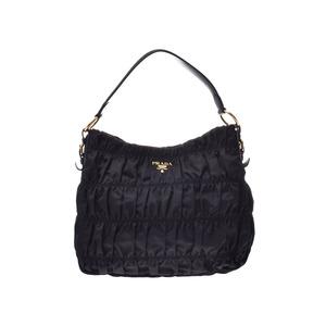 Prada 2WAY Semi Shoulder Bag Gather Black GP Hardware BR4919 Ladies Nylon / Leather AB Rank PRADA Strap Gala Used Ginzo