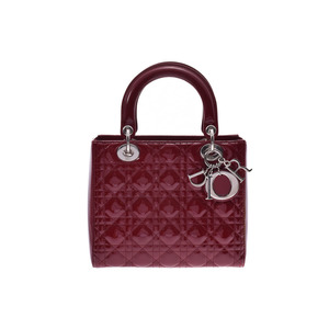 Dior Lady Cherry Red SV hardware Lady's enamel / calfskin 2WAY handbag