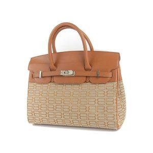 BALENCIAGA Balenciaga Leather Canvas Logo Total Pattern Silver Hardware Handbag Brown 20191008