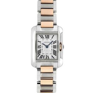 カルティエ(Cartier) クォーツ ステンレススチール(SS) レディース 高級時計 タンクアングレーズSM