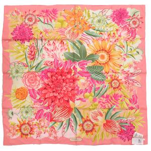 Salvatore Ferragamo Floral Flower Silk Pink Scarf 0121 Salvatore