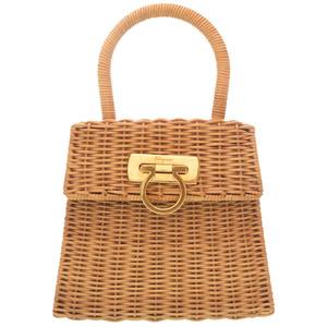 Salvatore Ferragamo Gantini Straw Brown Gold Hardware DO-216176 Handbag Bag 0132 Salvatore