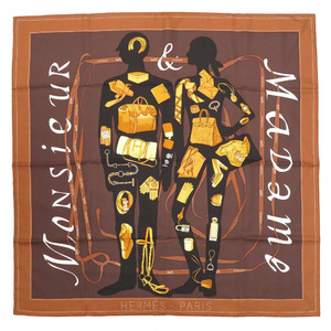 Hermes Carre 90 MONSIEUR ET MADAME Monsieur & Madam Scarf Silk Brown 0130 HERMES