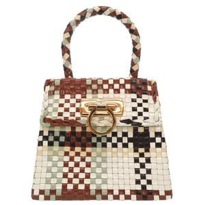 Salvatore Ferragamo Gancini Leather Multicolor Brown White DO-217269 Gold Hardware Handbag Bag 0207 Salvatore