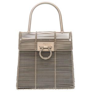 Salvatore Ferragamo Gancini Wire Bag Aluminum Silver DO-21 8840 Handbag 0208 Salvatore