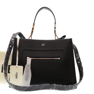 Fendi Ramway Small 8BH344 Leather Black 2way Handbag 0226FENDI With Strap