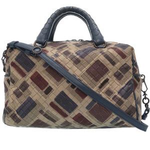 Bottega Veneta Intrechart 2way Mini Boston Bag Hand Multi Gray Blue 0166 BOTTEGA VENETA