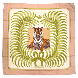 Hermes Carre 140 Champion Tiger TIGRE ROYAL Scarf Silk Pink 0248 HERMES