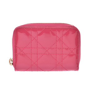 Dior Canage Round Fastener Coin Case Pink Ladies Enamel Purse