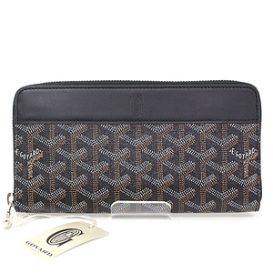 Goyard GOYARD round zipper wallet goyardin canvas leather black cedar pattern