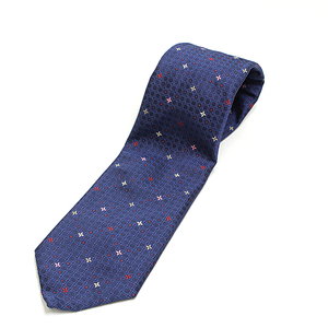 Louis Vuitton LOUIS VUITTON Silk Tie Japan 25th Anniversary Limited Length 144cm Width 9cm Monogram Flower Dot 100% Navy Multicolor Komon Pattern Clavatt