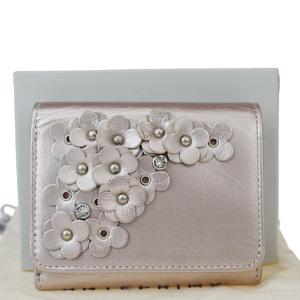 アンテプリマ(Anteprima) レザー,ラインストーン 財布(三つ折り) ピンク