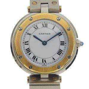 CARTIER Santos Round 18K Gold Steel Quartz Ladies Watch