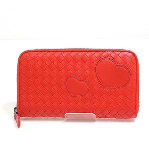 BOTTEGA VENETA Bottega Veneta round zipper long wallet 114076 red calfskin unused