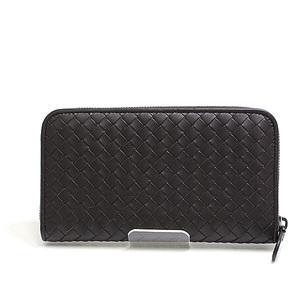 BOTTEGA VENETA round zipper wallet 114076 brown calfskin