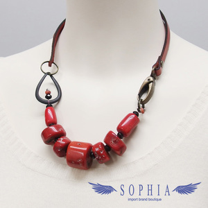 Natural stone necklace coral red 20190626