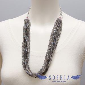 Natural stone necklace Labradorite 8 series handmade 20190629