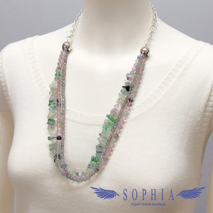 Natural stone necklace fluorite firefly handmade 20190626
