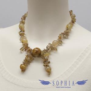 Natural stone necklace rutile quartz handmade 20190629