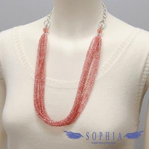 Natural stone necklace Strawberry quartz Handmade 20190626