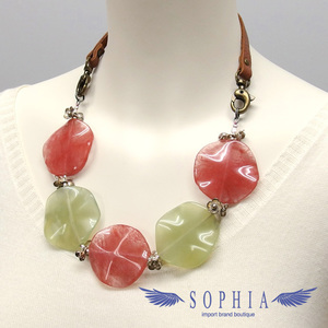 Natural stone necklace Agate Pink Strawberry Quartz 20190625