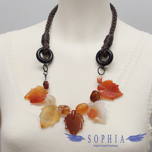 Natural stone necklace Carnelian handmade 20190625
