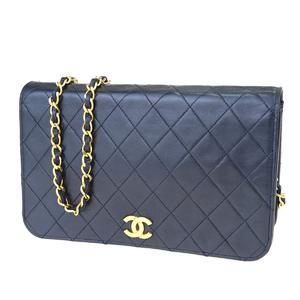 シャネル(Chanel) マトラッセ CC ロゴ チェーン レディース レザー,キルティング クラッチバッグ,ショルダーバッグ ネイビーブラック 10FA023