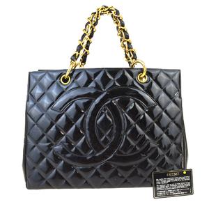 シャネル(Chanel) エナメル CC GST チェーン レディース パテントレザー,キルティング ハンドバッグ,トートバッグ ブラック 55FA020