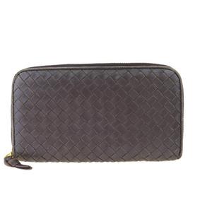 ボッテガ・ヴェネタ(Bottega Veneta) イントレチャート ラウンドファスナー レザー 財布 ブラウン 02GA145