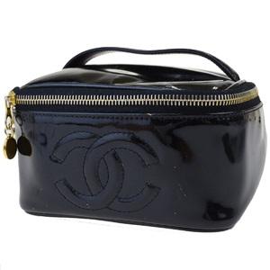 シャネル(Chanel) エナメル パテントレザー バニティバッグ ブラック 63FA047