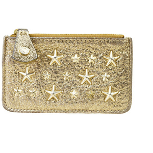 Jimmy Choo Star Studded Leather Coin Purse / Case Gold 03GA077