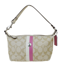Coach Signature Ladies PVC, Leather Handbag Beige 03GA046